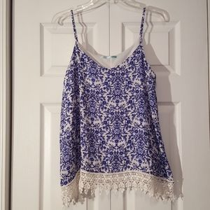 Maurices blue and white lace tank top size large